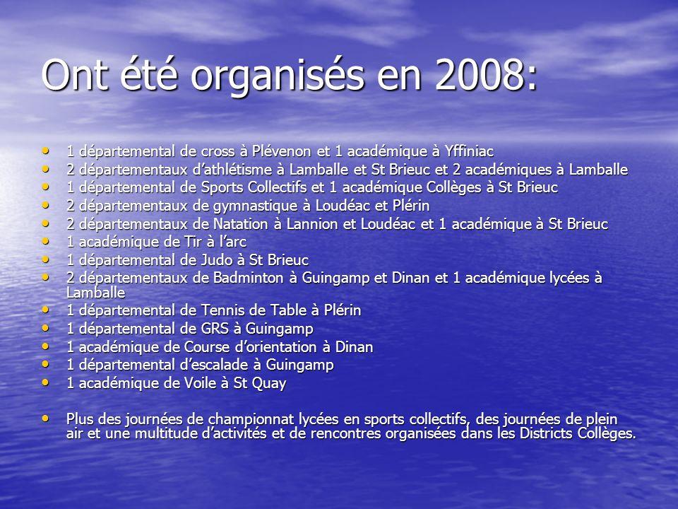 Ont été organisés en 2008: 1 départemental de cross à Plévenon et 1 académique à Yffiniac 1 départemental de cross à Plévenon et 1 académique à Yffini