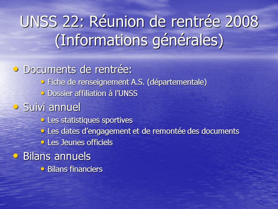 UNSS 22: Réunion de rentrée 2008 (Informations générales) Documents de rentrée: Documents de rentrée: Fiche de renseignement A.S. (départementale) Fic
