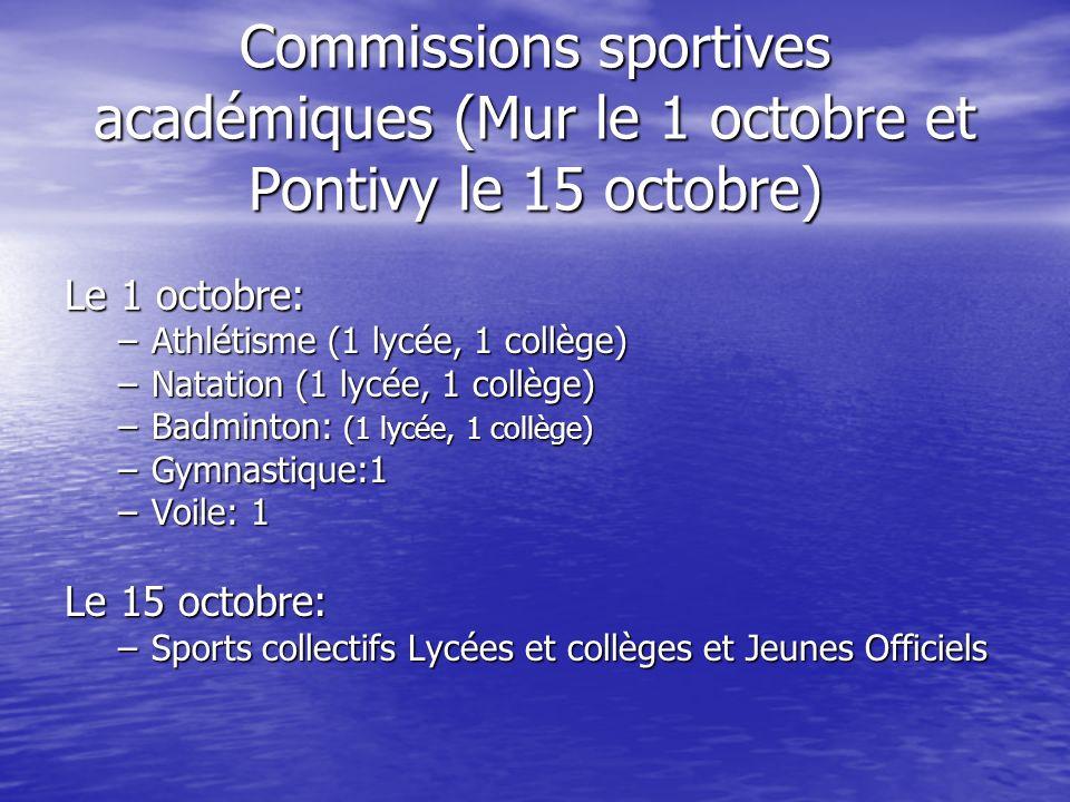 Commissions sportives académiques (Mur le 1 octobre et Pontivy le 15 octobre) Le 1 octobre: –Athlétisme (1 lycée, 1 collège) –Natation (1 lycée, 1 col