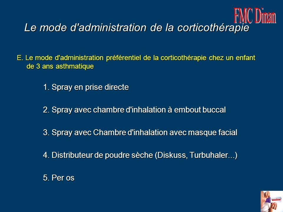 Le mode d'administration de la corticothérapie E. Le mode d'administration préférentiel de la corticothérapie chez un enfant de 3 ans asthmatique E. L