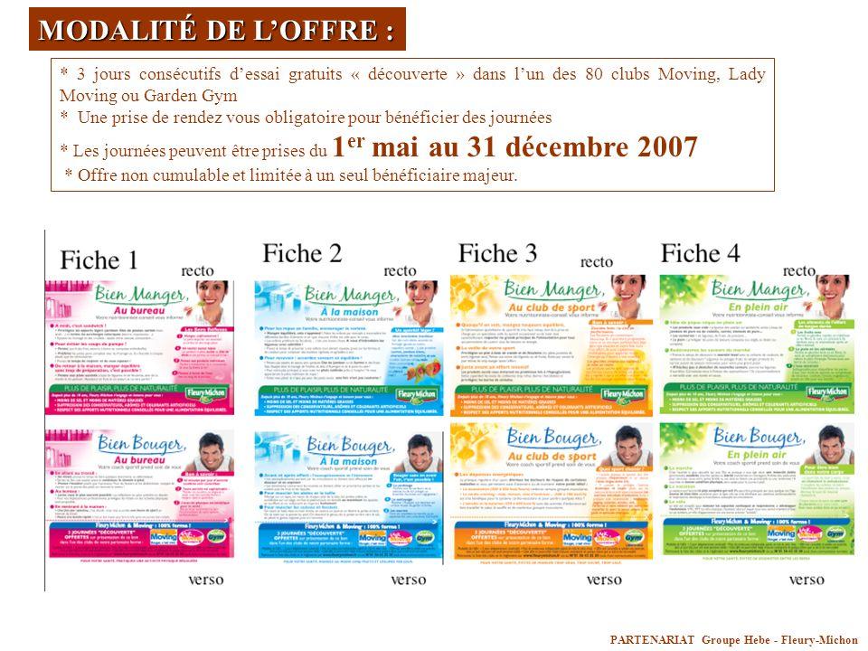 PARTENARIAT Groupe Hebe - Fleury-Michon MODALITÉ DE LOFFRE : * 3 jours consécutifs dessai gratuits « découverte » dans lun des 80 clubs Moving, Lady M