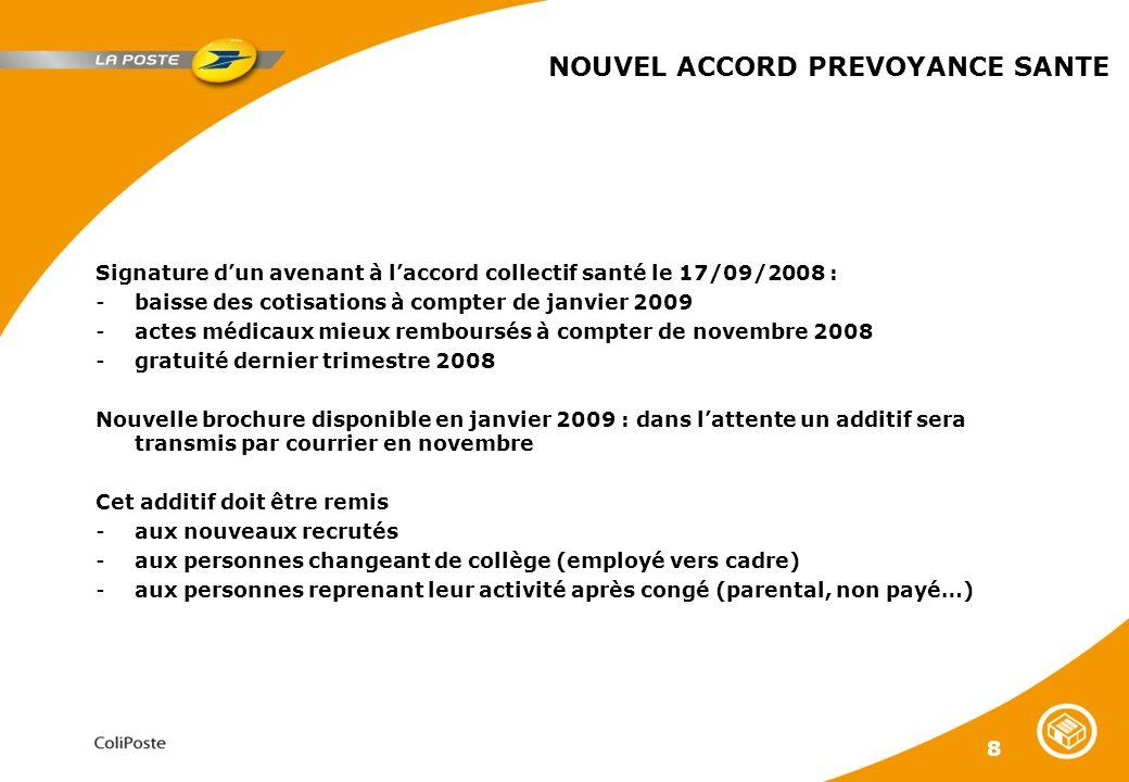 8 NOUVEL ACCORD PREVOYANCE SANTE Signature dun avenant à laccord collectif santé le 17/09/2008 : -baisse des cotisations à compter de janvier 2009 -ac