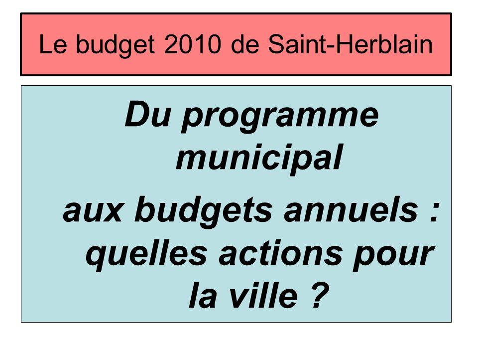 Le budget 2010 de Saint-Herblain Du programme municipal aux budgets annuels : quelles actions pour la ville