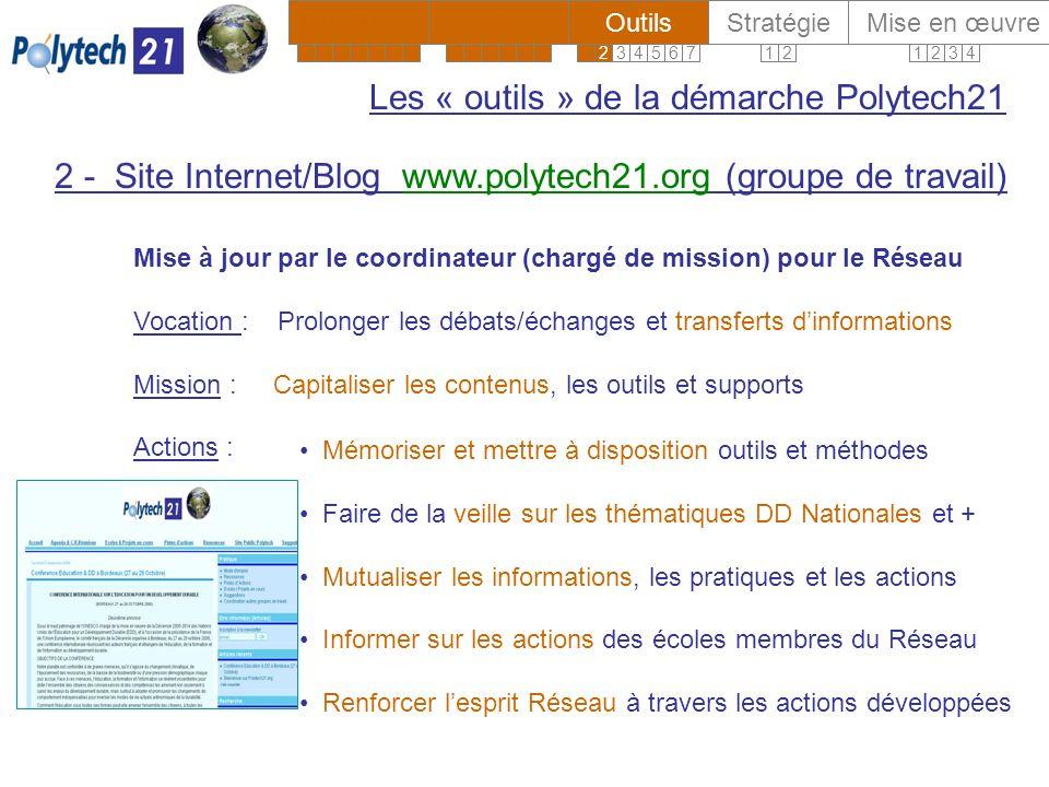 Contact Réseau : Gilbert Isoard - 060 7676 309 gilbert.isoard@polytech-reseau.org Contact dans votre école : XYZ Les « acteurs » de la démarche Polytech21 ContenusOutilsStratégie Mise en œuvreDirections 12341234567123456123456712 www.polytech21.info Vous retrouverez cette présentation sur www.polytech21.info 4 Mise en œuvre