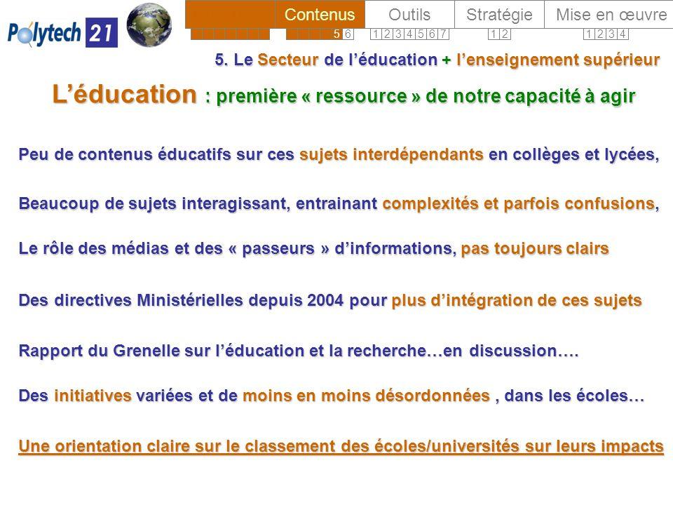 5. Le Secteur de léducation + lenseignement supérieur Léducation : première « ressource » de notre capacité à agir Peu de contenus éducatifs sur ces s