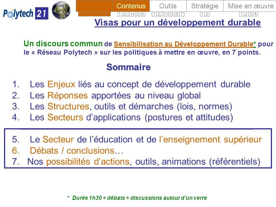 1. Les Enjeux liés au concept de développement durable 2.