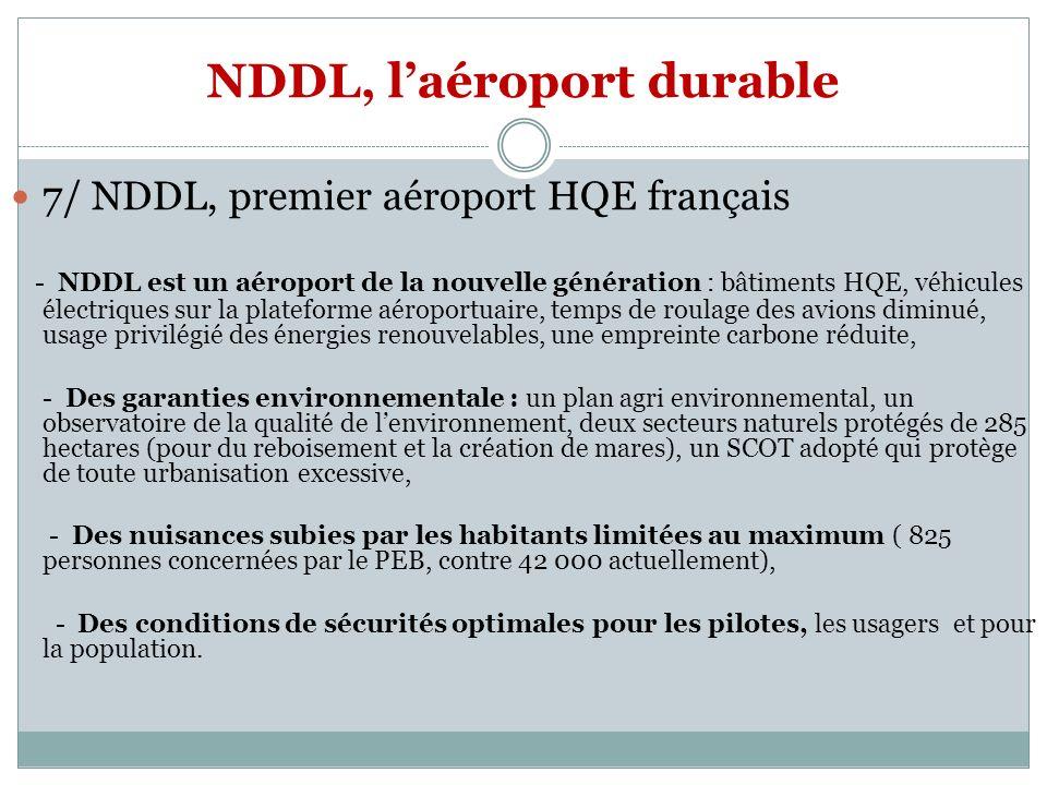 NDDL, laéroport durable 7/ NDDL, premier aéroport HQE français - NDDL est un aéroport de la nouvelle génération : bâtiments HQE, véhicules électriques sur la plateforme aéroportuaire, temps de roulage des avions diminué, usage privilégié des énergies renouvelables, une empreinte carbone réduite, - Des garanties environnementale : un plan agri environnemental, un observatoire de la qualité de lenvironnement, deux secteurs naturels protégés de 285 hectares (pour du reboisement et la création de mares), un SCOT adopté qui protège de toute urbanisation excessive, - Des nuisances subies par les habitants limitées au maximum ( 825 personnes concernées par le PEB, contre 42 000 actuellement), - Des conditions de sécurités optimales pour les pilotes, les usagers et pour la population.