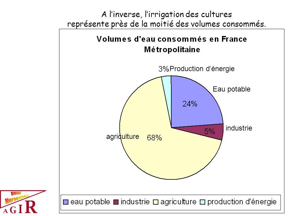A linverse, lirrigation des cultures représente près de la moitié des volumes consommés. agriculture Eau potable industrie Production dénergie