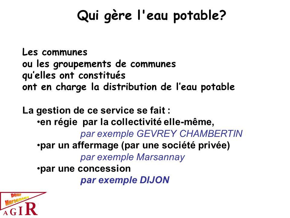 Les communes ou les groupements de communes quelles ont constitués ont en charge la distribution de leau potable La gestion de ce service se fait : en