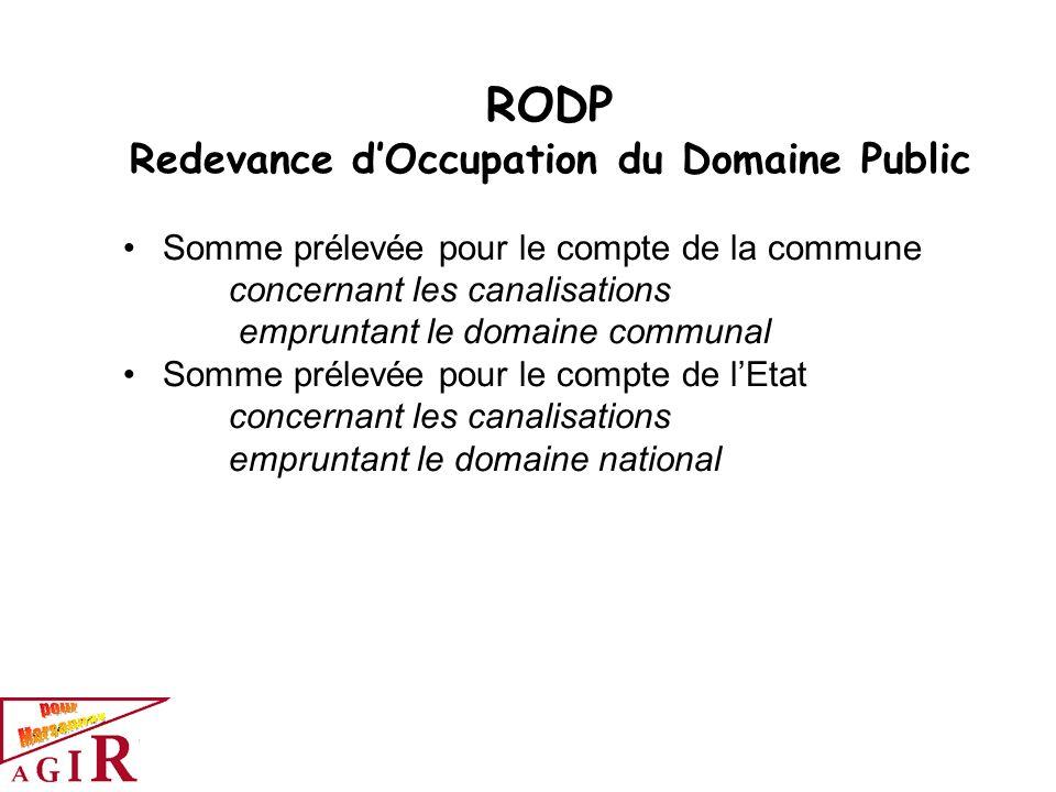 RODP Redevance dOccupation du Domaine Public Somme prélevée pour le compte de la commune concernant les canalisations empruntant le domaine communal S