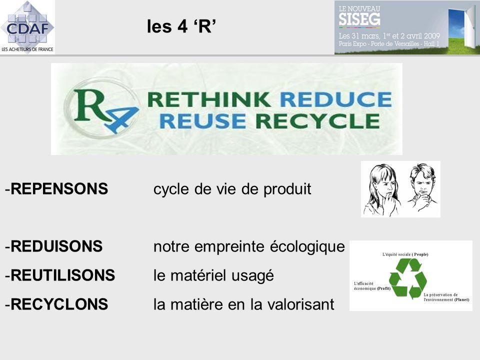 les 4 R -REPENSONS cycle de vie de produit -REDUISONS notre empreinte écologique -REUTILISONS le matériel usagé -RECYCLONS la matière en la valorisant
