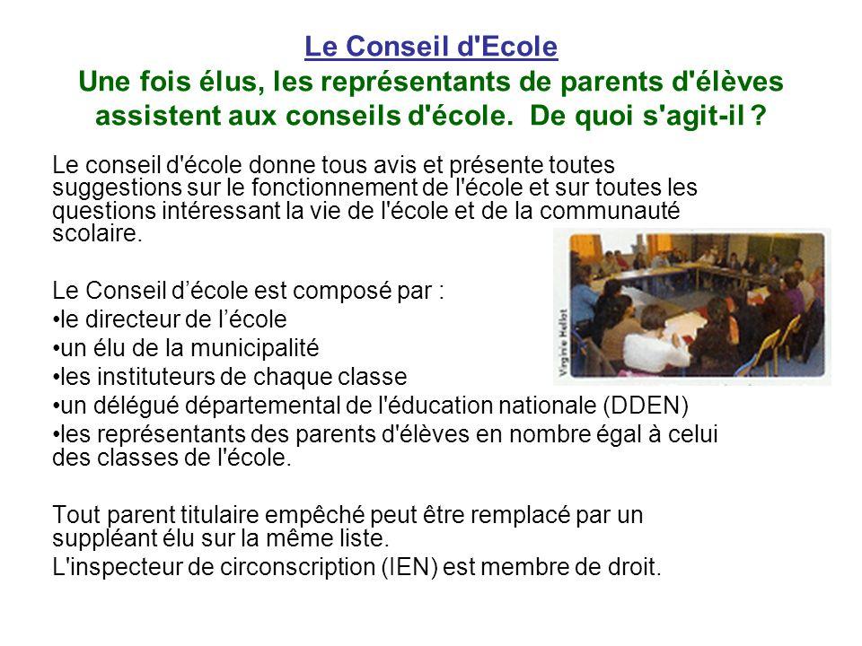 Le Conseil d'Ecole Une fois élus, les représentants de parents d'élèves assistent aux conseils d'école. De quoi s'agit-il ? Le conseil d'école donne t