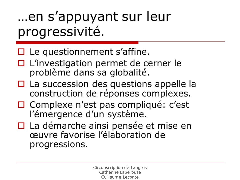 Circonscription de Langres Catherine Lapérouse Guillaume Leconte …en sappuyant sur leur progressivité. Le questionnement saffine. Linvestigation perme