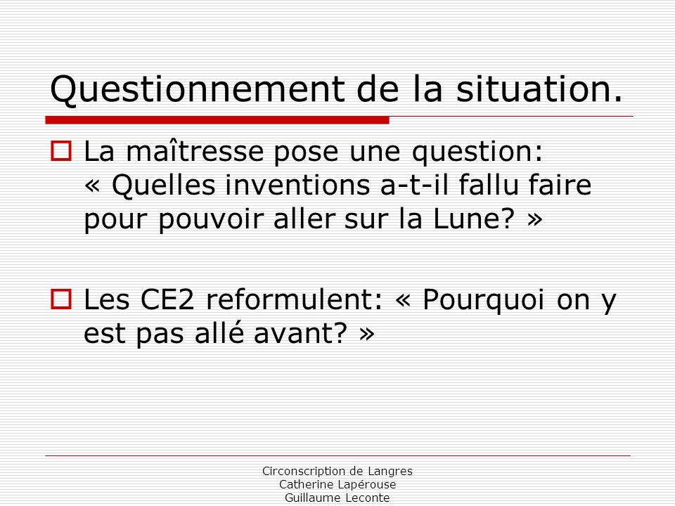 Circonscription de Langres Catherine Lapérouse Guillaume Leconte Questionnement de la situation. La maîtresse pose une question: « Quelles inventions