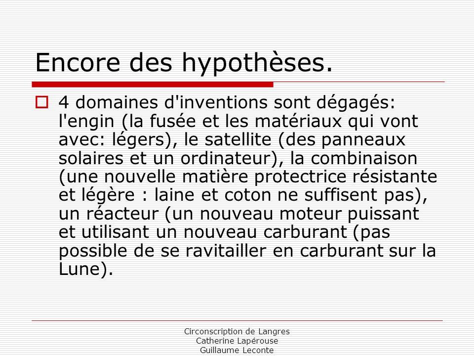 Circonscription de Langres Catherine Lapérouse Guillaume Leconte Encore des hypothèses. 4 domaines d'inventions sont dégagés: l'engin (la fusée et les