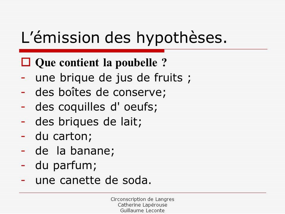 Circonscription de Langres Catherine Lapérouse Guillaume Leconte Lémission des hypothèses. Que contient la poubelle ? -une brique de jus de fruits ; -