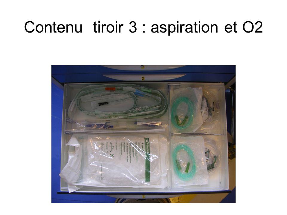 Contenu tiroir 3 : aspiration et O2