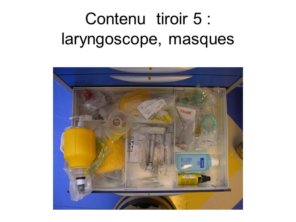 Contenu tiroir 5 : laryngoscope, masques