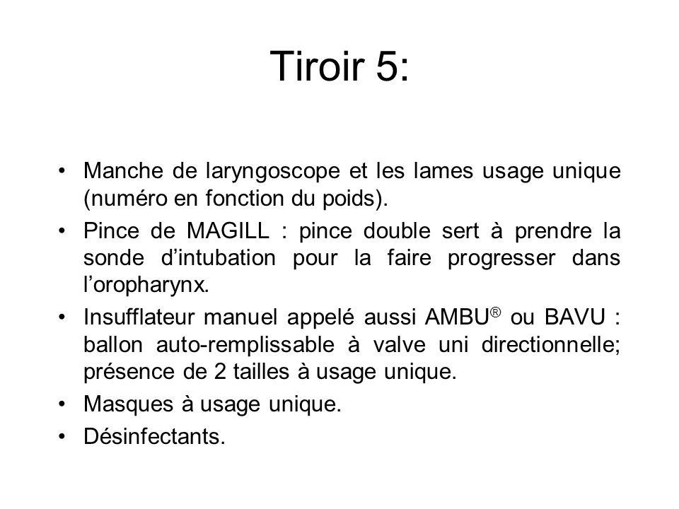 Tiroir 5: Manche de laryngoscope et les lames usage unique (numéro en fonction du poids).