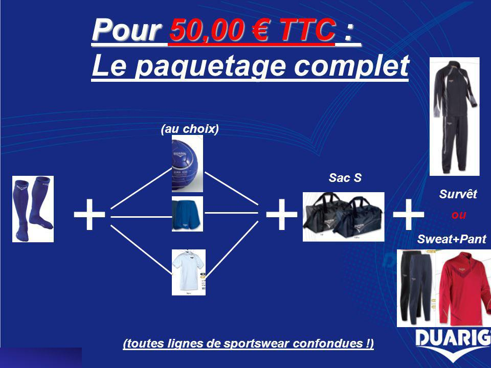 Pack à 100,00 TTC Sac L ou +++++ Survêt Short T-shirt Sweat et Pants Coupe -vent et Polo