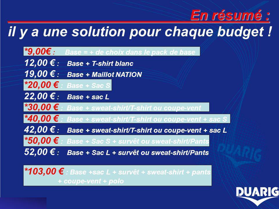 En résumé : En résumé : il y a une solution pour chaque budget ! *9,00 : Base = + de choix dans le pack de base 12,00 : Base + T-shirt blanc 19,00 : B