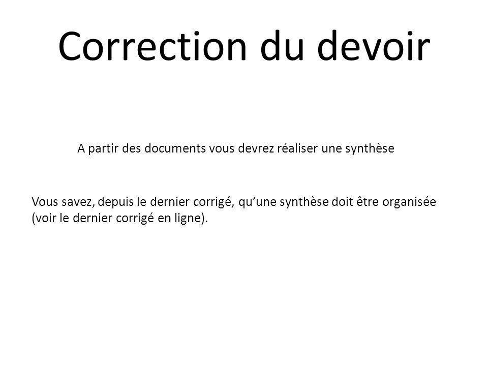 Correction du devoir A partir des documents vous devrez réaliser une synthèse Vous savez, depuis le dernier corrigé, quune synthèse doit être organisé