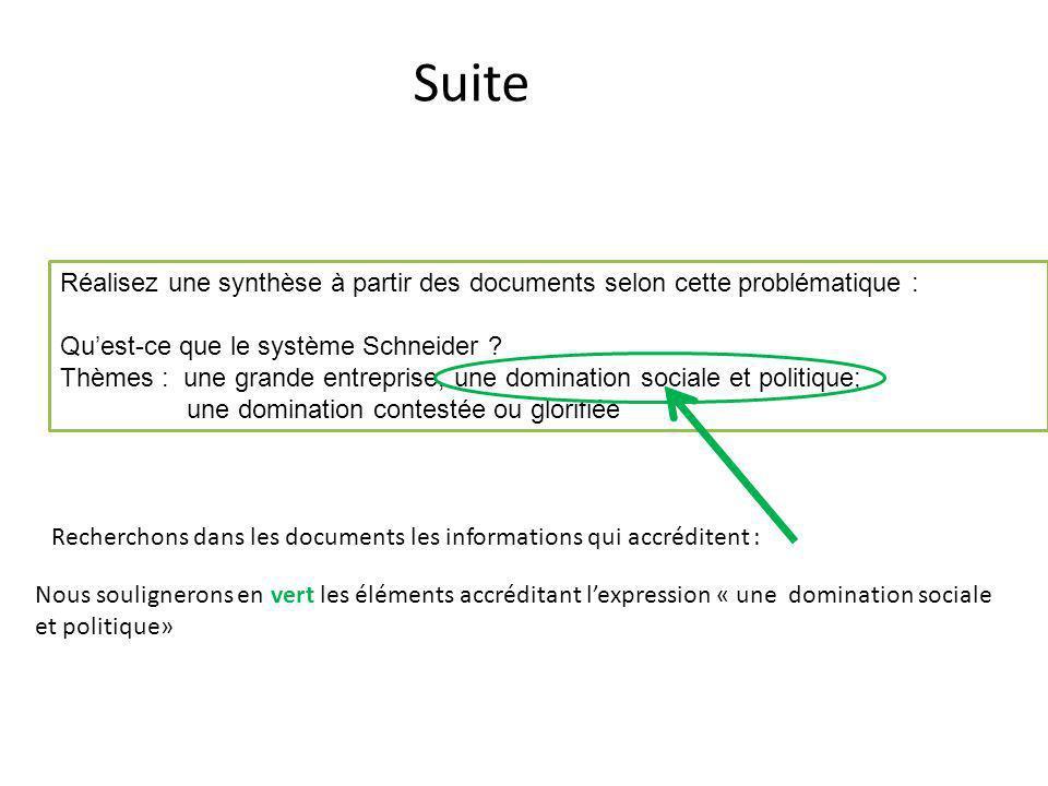 Suite Recherchons dans les documents les informations qui accréditent : Réalisez une synthèse à partir des documents selon cette problématique : Quest