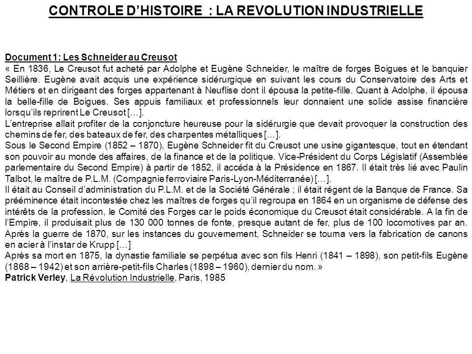 CONTROLE DHISTOIRE : LA REVOLUTION INDUSTRIELLE Document 1: Les Schneider au Creusot « En 1836, Le Creusot fut acheté par Adolphe et Eugène Schneider,