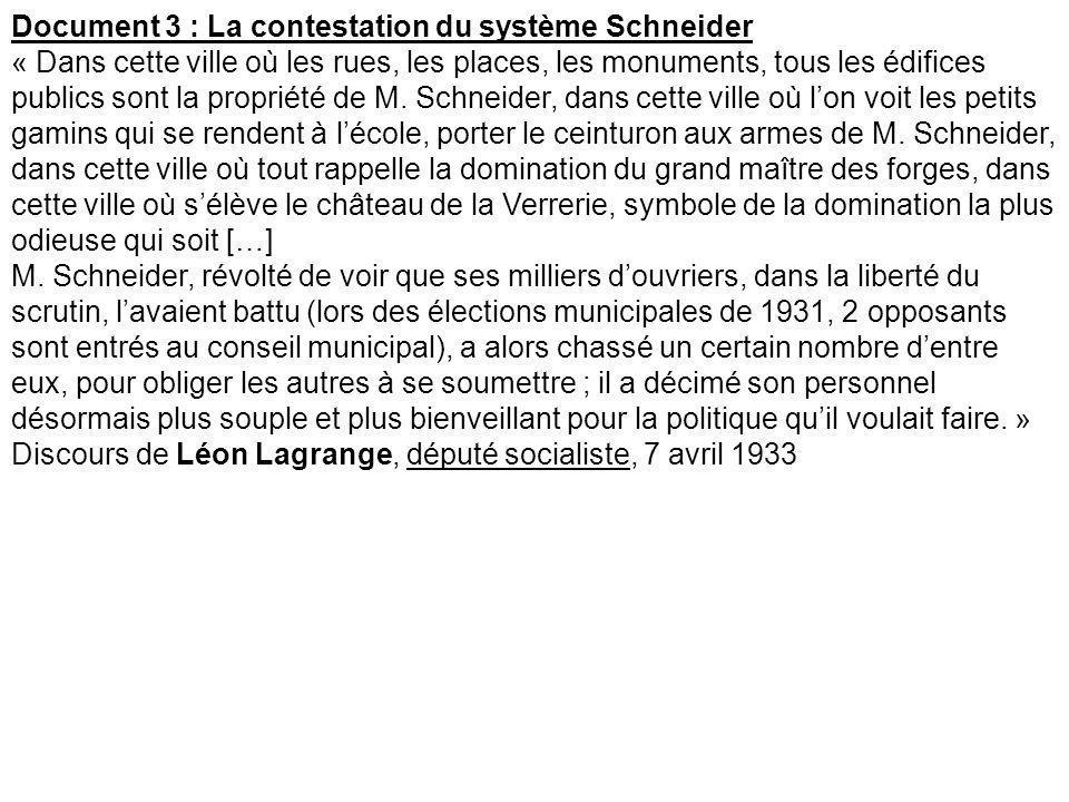Document 3 : La contestation du système Schneider « Dans cette ville où les rues, les places, les monuments, tous les édifices publics sont la proprié