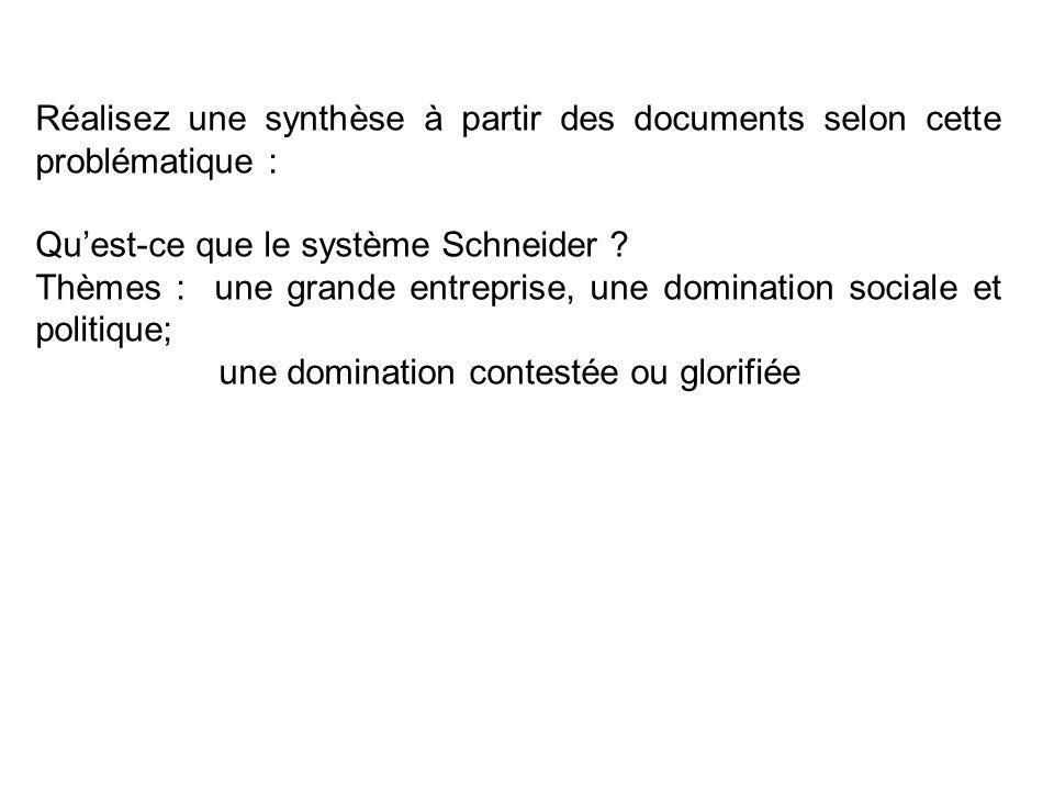 Réalisez une synthèse à partir des documents selon cette problématique : Quest-ce que le système Schneider ? Thèmes : une grande entreprise, une domin