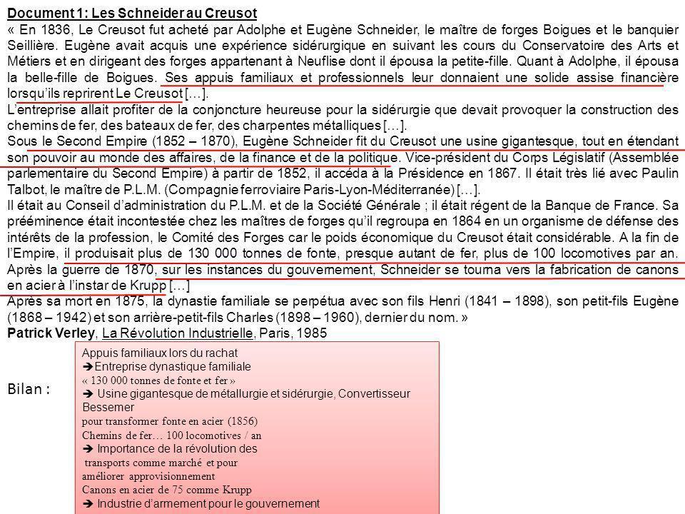 Document 1: Les Schneider au Creusot « En 1836, Le Creusot fut acheté par Adolphe et Eugène Schneider, le maître de forges Boigues et le banquier Seil
