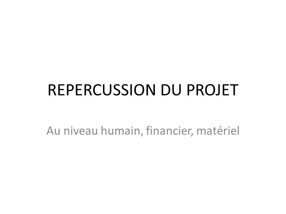 REPERCUSSION DU PROJET Au niveau humain, financier, matériel