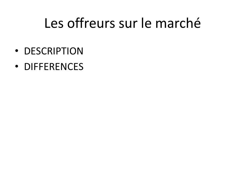 Les offreurs sur le marché DESCRIPTION DIFFERENCES