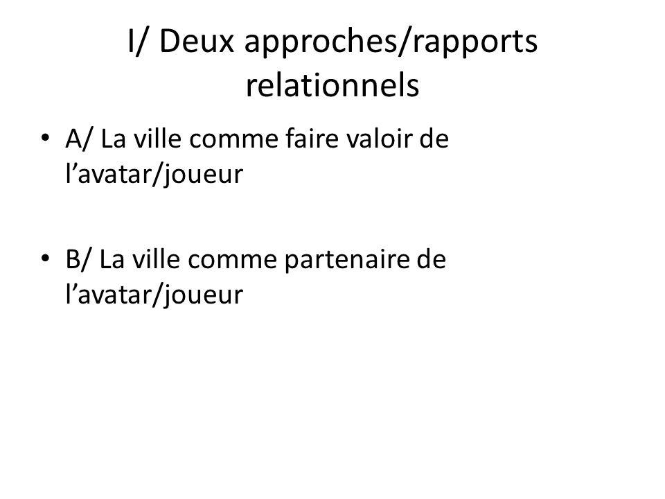I/ Deux approches/rapports relationnels A/ La ville comme faire valoir de lavatar/joueur B/ La ville comme partenaire de lavatar/joueur