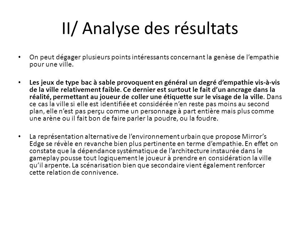 II/ Analyse des résultats On peut dégager plusieurs points intéressants concernant la genèse de lempathie pour une ville. Les jeux de type bac à sable