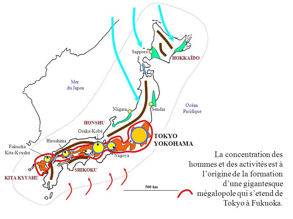 HONSHU KITA KYUSHU SHIKOKU SendaïNiigata Sapporo Nagoya TOKYO YOKOHAMA HOKKAÏDO Fukuoka Kita-Kyushu Mer du Japon Océan Pacifique Hiroshima La concentr