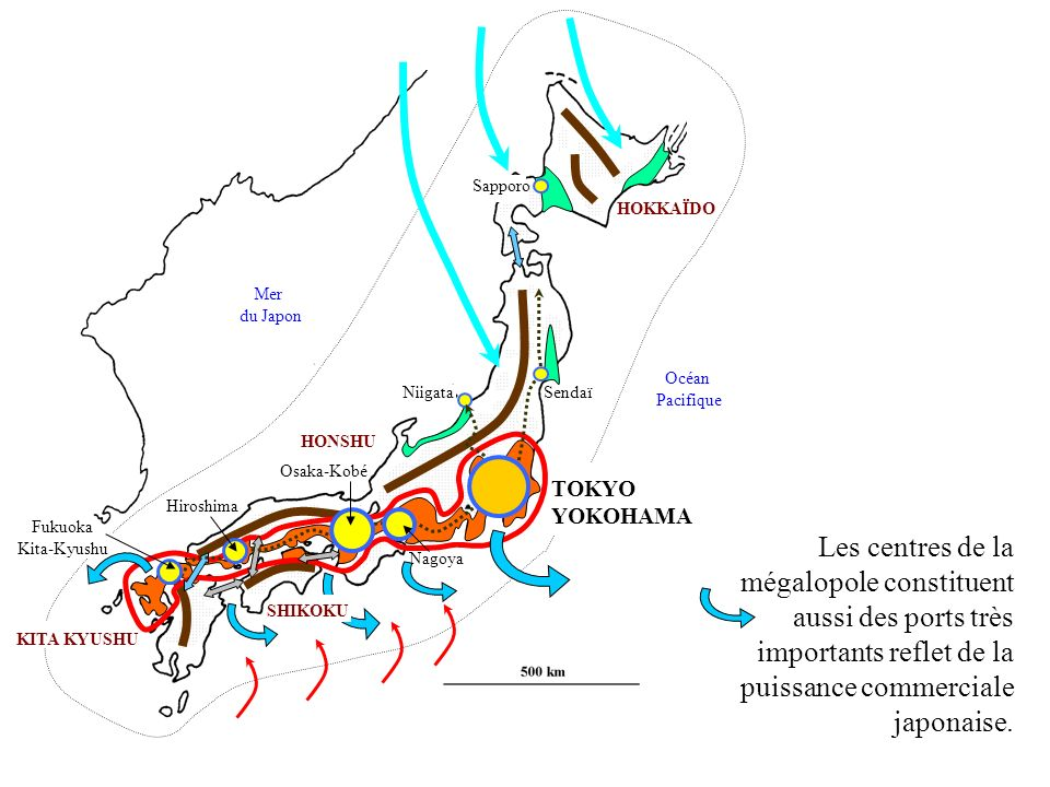 HONSHU KITA KYUSHU HOKKAÏDO SendaïNiigata Sapporo Hiroshima Nagoya Osaka-Kobé TOKYO YOKOHAMA Fukuoka Kita-Kyushu Mer du Japon Océan Pacifique Les cent