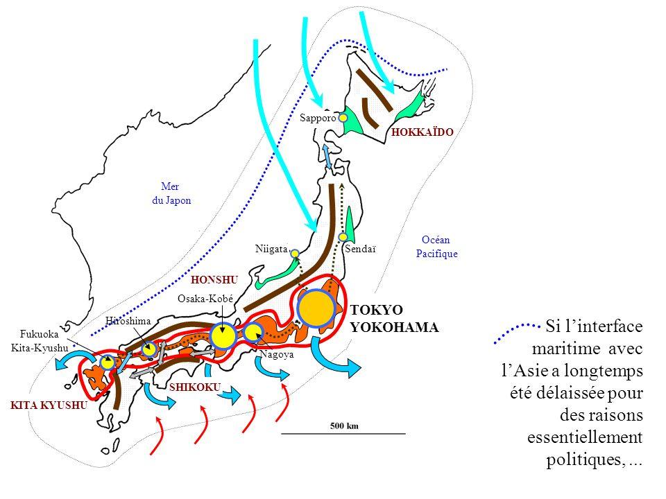 HONSHU HOKKAÏDO KITA KYUSHU SendaïNiigata Sapporo Fukuoka Kita-Kyushu Hiroshima Nagoya Osaka-Kobé TOKYO YOKOHAMA Mer du Japon Océan Pacifique SHIKOKU