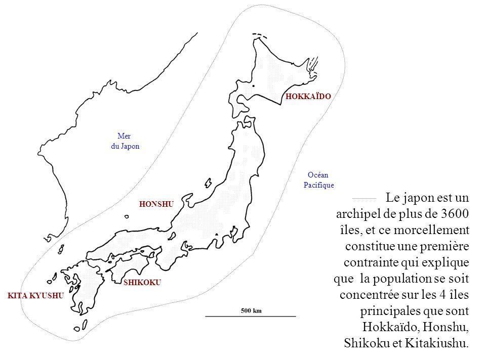 KITA KYUSHU HONSHU SHIKOKU HOKKAÏDO Mer du Japon Océan Pacifique Pour remédier à ce morcellement les japonais ont construit des ponts et des tunnels sous-marins entre les 4 îles principales.