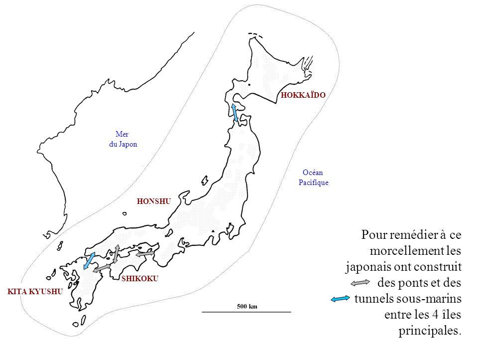 KITA KYUSHU HONSHU SHIKOKU HOKKAÏDO Mer du Japon Océan Pacifique Pour remédier à ce morcellement les japonais ont construit des ponts et des tunnels s