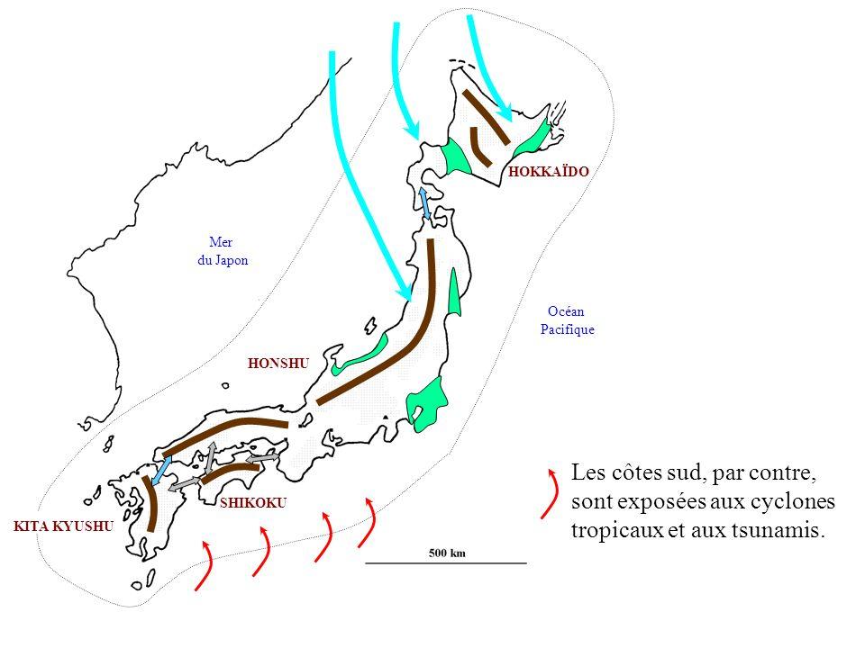 HONSHU KITA KYUSHU SHIKOKU HOKKAÏDO Mer du Japon Océan Pacifique Face à ces nombreuses contraintes, la population sest vue obligée de se concentrer sur une étroite frange littorale au sud de Honshu, doù une nette opposition entre le sud très peuplé (1000 à 6000 hab/Km2 - le Japon de lendroit) et le reste du pays où la densité est inférieure à 150hab/Km2 (le Japon de lenvers).