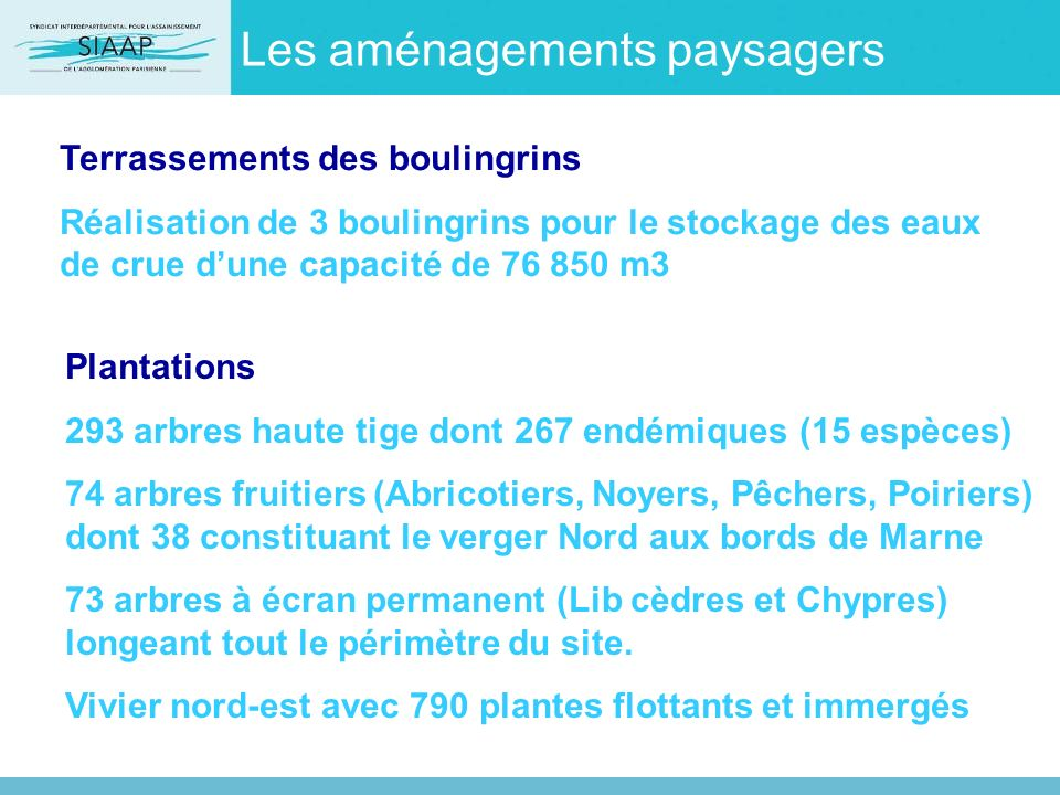 Les aménagements paysagers Terrassements des boulingrins Réalisation de 3 boulingrins pour le stockage des eaux de crue dune capacité de 76 850 m3 Pla