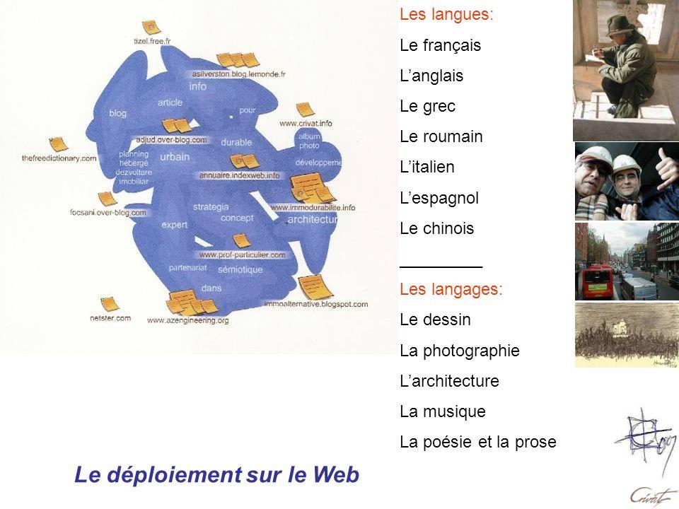 Le déploiement sur le Web Les langues: Le français Langlais Le grec Le roumain Litalien Lespagnol Le chinois _________ Les langages: Le dessin La phot
