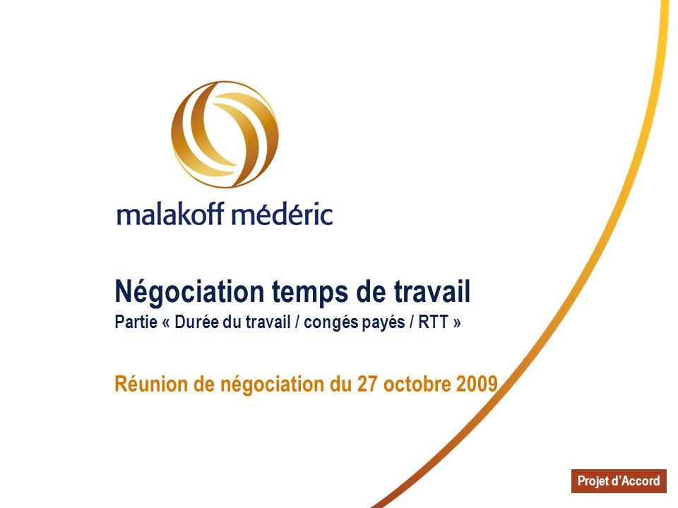 Négociation temps de travail Partie « Durée du travail / congés payés / RTT » Réunion de négociation du 27 octobre 2009 Projet dAccord