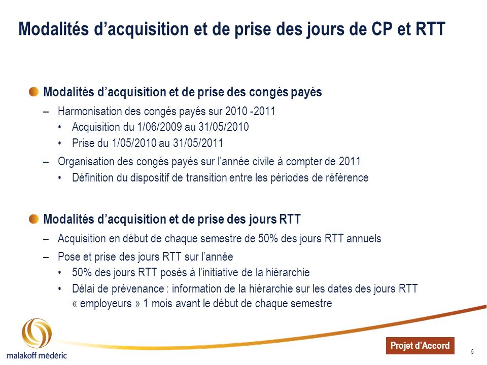 6 Modalités dacquisition et de prise des jours de CP et RTT Modalités dacquisition et de prise des congés payés –Harmonisation des congés payés sur 20