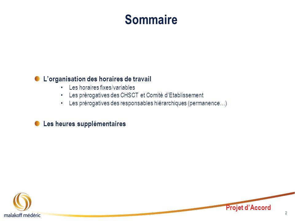 2 Sommaire Lorganisation des horaires de travail Les horaires fixes/variables Les prérogatives des CHSCT et Comité dEtablissement Les prérogatives des