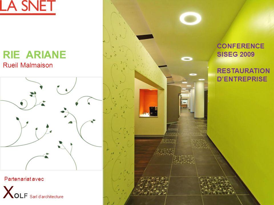 RIE ARIANE Rueil Malmaison Partenariat avec X OLF Sarl darchitecture CONFERENCE SISEG 2009 RESTAURATION DENTREPRISE