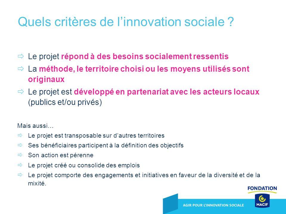 Le projet répond à des besoins socialement ressentis La méthode, le territoire choisi ou les moyens utilisés sont originaux Le projet est développé en