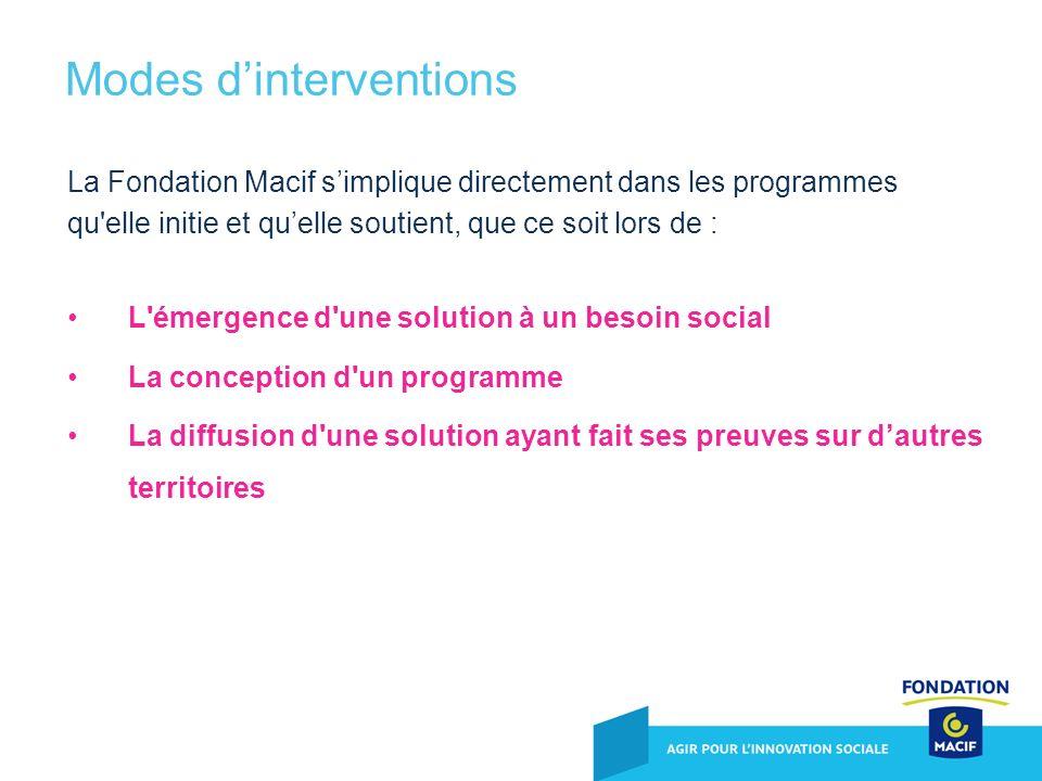 La Fondation Macif simplique directement dans les programmes qu'elle initie et quelle soutient, que ce soit lors de : L'émergence d'une solution à un