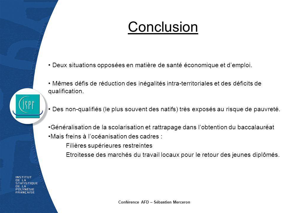 Conclusion Deux situations opposées en matière de santé économique et demploi. Mêmes défis de réduction des inégalités intra-territoriales et des défi